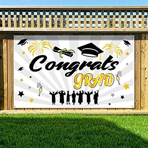 ️ Yu2d ❤️❤️ ️Large Fabric Graduation Party Banner 78' 'x 45'' Durable Selfie Backdrop 2019