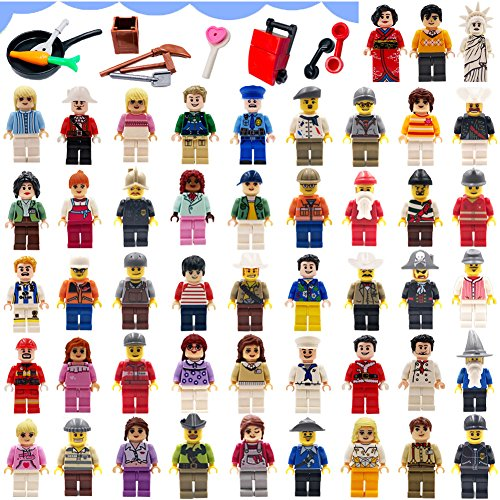 Harlerbo Minifigures Set of 48 - Compatible Minifigures with Interchangeable Accessories Set Mini Figures Community People Building Bricks Interlocking Toy Playset