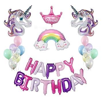 Globos de Unicornios para Cumpleaños,Decoraciones de Fiesta de Unicornio 2pcs Globos Unicornio para Partido Decorations Huge Latex Ballon Globos de ...