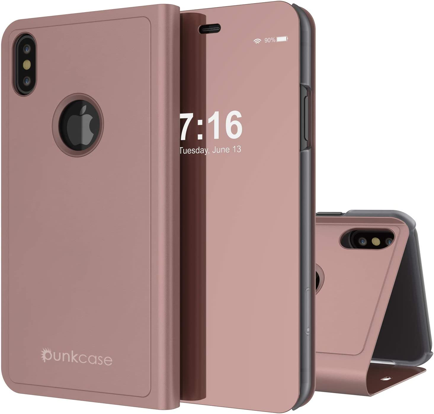 Punkcase iPhone X Reflector Case Protective Flip Cover W/Scratch Resistant Semi Translucent Mirror Front & Non-Slip PU Leather Back Integrated Kickstand Compatible W/Apple iPhone X (Rose Gold)