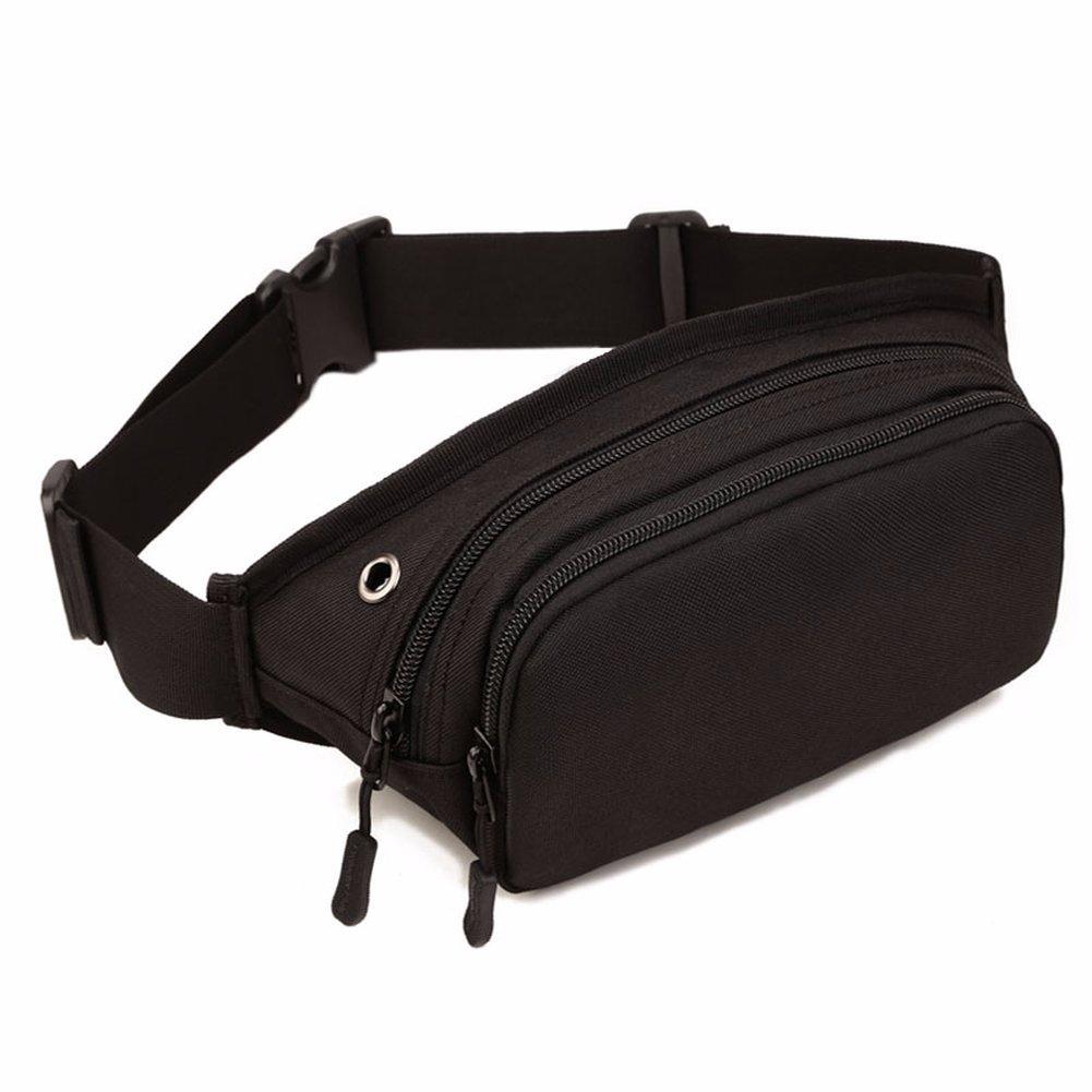 aobritonメンズウエストバッグ、防水ナイロンスリング胸Fanny Packベルト、メッセンジャーショルダーポーチ財布  ブラック B07CYFL25H