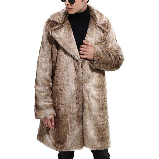 YKARITIANNA Mens Long Super Warm Windbreaker, Winter Warm Thick Coat Overout Jacket Faux Fur Parka