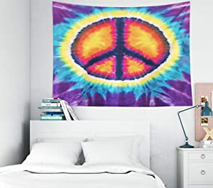 Gesmatic College Dorm Tapestry Ceiling Tapestry 40X30 Inches Tapestry Wall Hanging Abstract Peace Sign Design Tie Dye Dorm Tapestry Wall Decor Tapestry for Bedroom