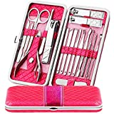 Facial Hair Styles New - Teamkio Manicure Pedicure Nail Clippers Set Travel Hygiene Kit Stainless Steel Professional Cutter Care Set Scissor Tweezer Knife Ear Pick Tools Grooming Kits with Leather Case (18pcs, Pink)