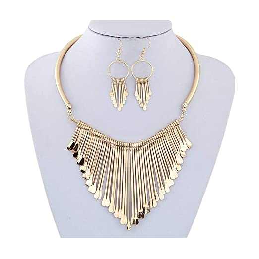 Vintage Style Jewelry, Retro Jewelry Juland Statement Bib Necklace with Golden Metal Fringe Drop Choker Necklace Earrings Set Fashion Bohemian Punk Ethnic Style for Women and Girls $8.99 AT vintagedancer.com