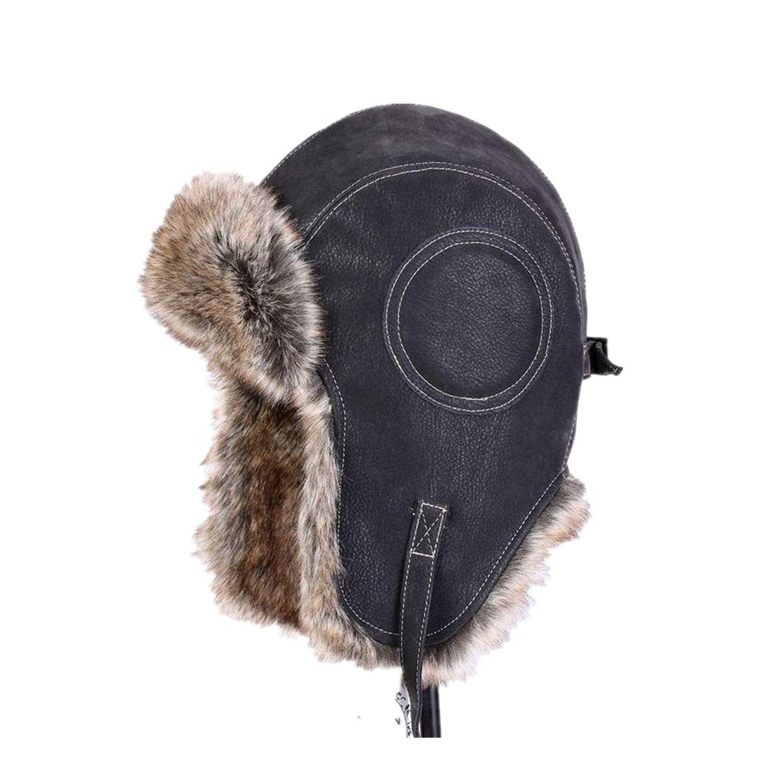 Winter Artificial Leather Hats Casual Men Windproof Warm Bomber Hats Motorcycle Flight Ear Protection Cap