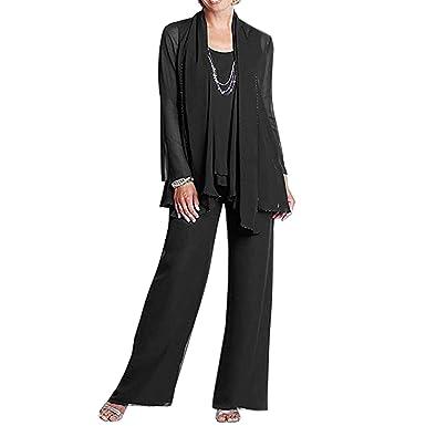 0c99ec7baf1bf Image Unavailable. Image not available for. Color  BridalAffair Women s  Chiffon Mother The Bride Dress 3 Piece Pants Suit Jackt