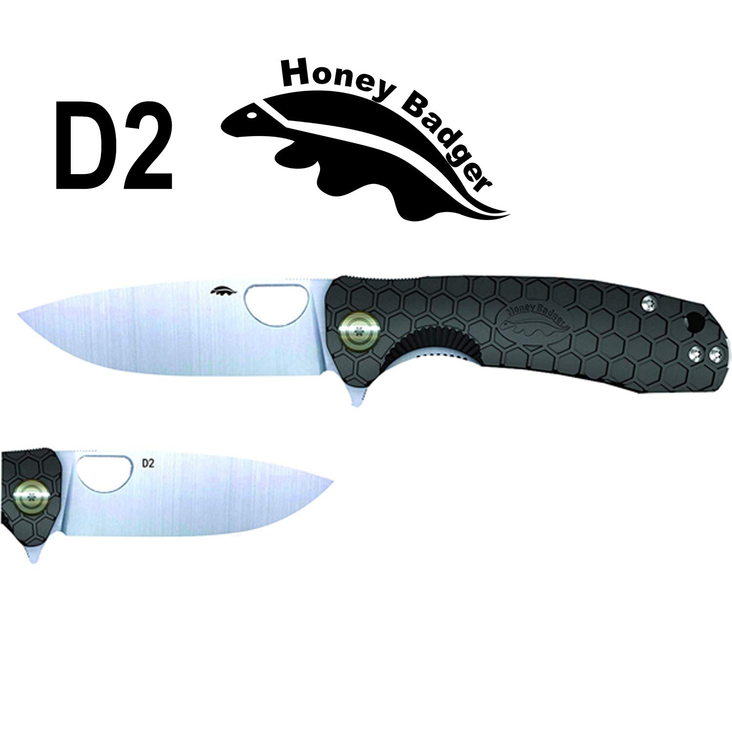 Western Active Honey Badger Pocket Knife Flipper EDC Knife for Hunting, Fishing, Tactical. Deep Pocket Carry Clip Gift Box with Torx Wrench (Black-D2, Medium 2.96oz - 4.1'' Closed - 3.2'' Blade) by Western Active