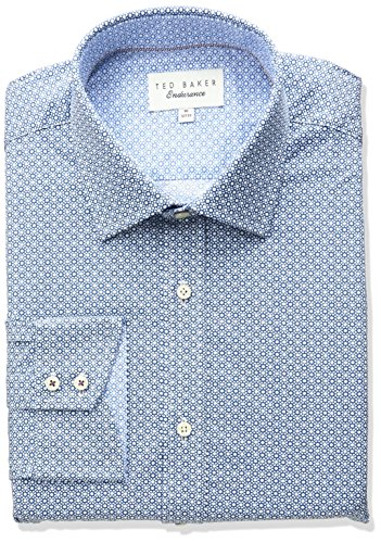 Ted Baker Men's Slim Fit Tucker Geo Print Dress Shirt, Navy 15