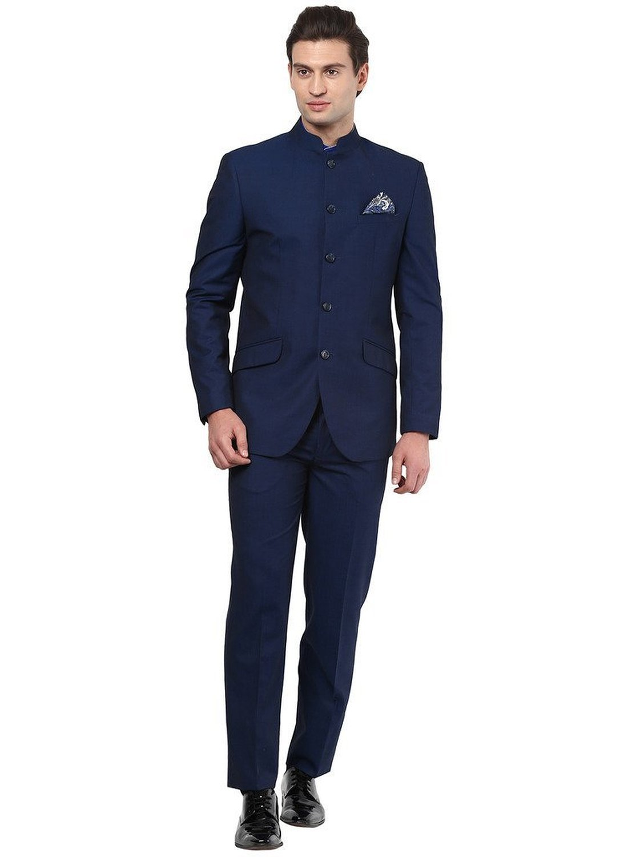 Royal Mens Black Nehru Grandad Collar Suit Ideal For Wedding (42'' Jacekt 36'' Trouser, Navy Blue)
