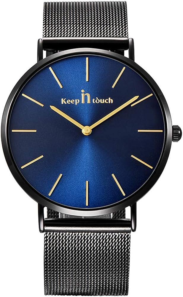 Infinito U-Reloj de Cuarzo Reloj Negro Ultra Fino para Hombre Minimalista Moda Relojes de Pulsera para Hombres Vestir Casual Impermeable con Banda Negro de Acero Inoxidable