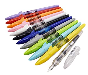 Jinhao Fountain Pen Transparent Shark Shape Set of 12 PCS, Fine Nib Diversity Color Pen Case Set with Refillable Converters, School Supplies