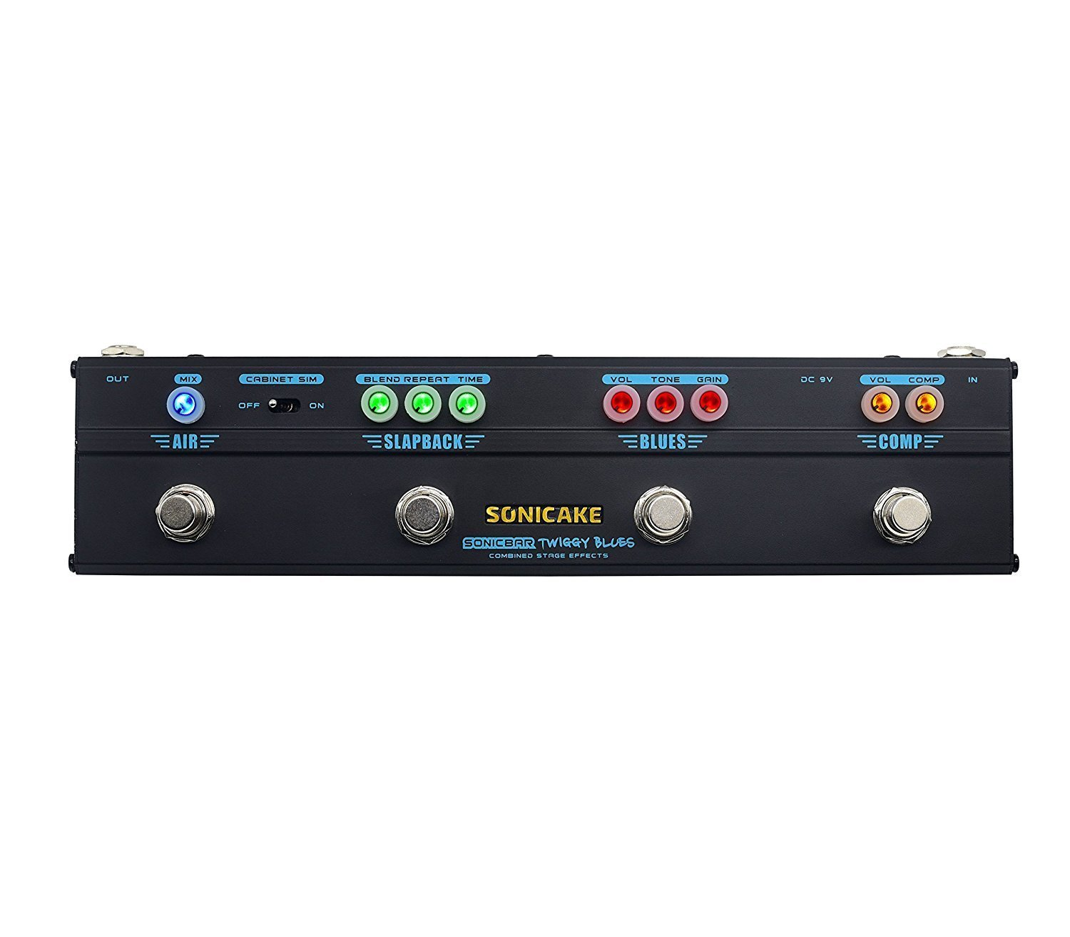 Sonicake Multi Guitar Effect Pedal Strip Sonicbar Twiggy Blues Combined Stage 4 in 1 Effect Compressor, Overdrive, Delay and reverb effect Pedal