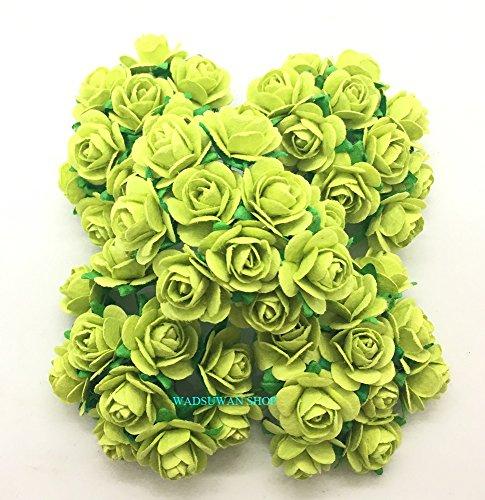 50 pcs Light Green Rose Mulberry Paper Flower 20 mm Scrapbooking Wedding Doll House Supplies Card. by WADSUWAN Shop