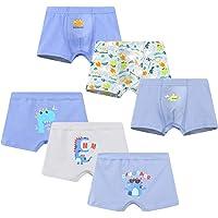 Allmeingeld Boys' Dinosaur Boxer Briefs Cotton Shorts Assorted Underwear 6-Pack Trunk for 2-10 Years