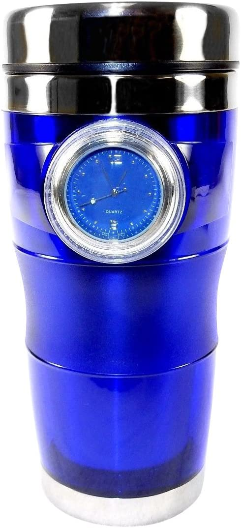 Time Mug Travel Cup with Built-in Watch, 16 ounces - Dishwasher Safe - Blue.