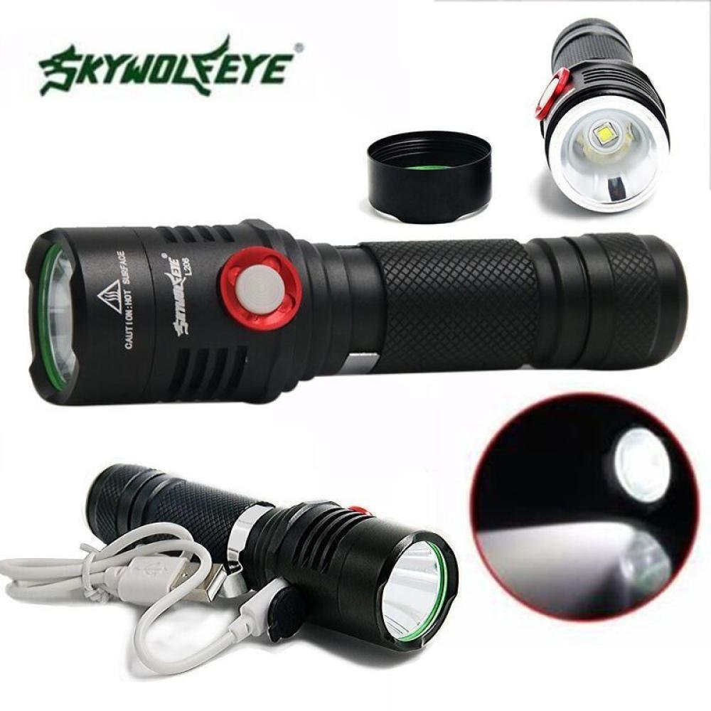 Dreamyth Waterproof SkyWolfeye Super Brigh Zoom 5 Mode CREE XM-L2 T6 LED USB Rechargeable Flashlight Torch Lamp Zoomable