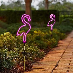[Set of 2] Flamingo Solar Garden Stake Lights, Outdoor Solar Pathway Light for Lawn Patio Yard Walkway, Neon Pink Lighting (29.5