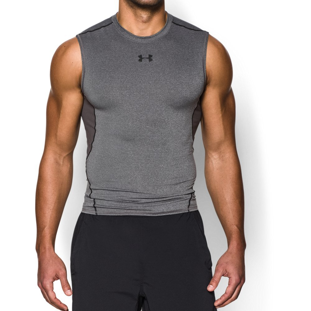 Under Armour Men's HeatGear Armour Sleeveless Compression Shirt, Carbon Heather /Black, XXX-Large