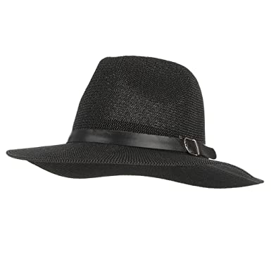 Mens Summer Sun Hats Beach Breathable Wide Brim Jazz Straw Hat at Amazon  Men s Clothing store  49377176add