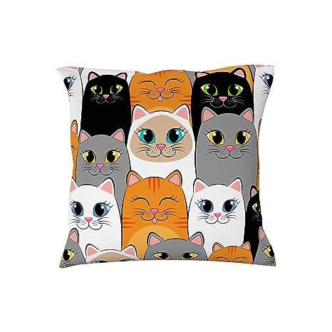 RQPPY - Funda para cojín, diseño de Gatos, algodón, Blanco ...