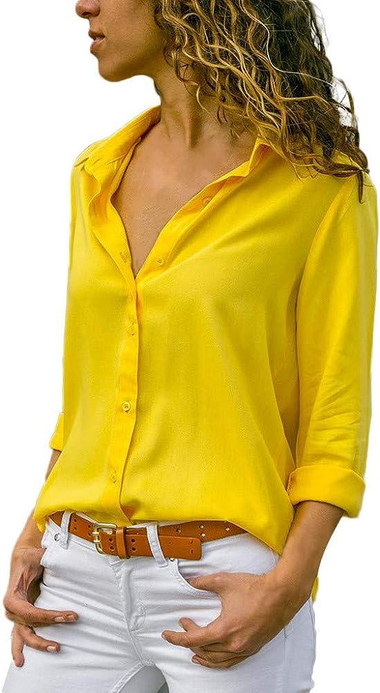 Blusas Mujer Primavera 2019 Mujer Blusa Casual Sólido Gasa Camisa de Manga Larga con Botones de Solapa: Amazon.es: Ropa y accesorios