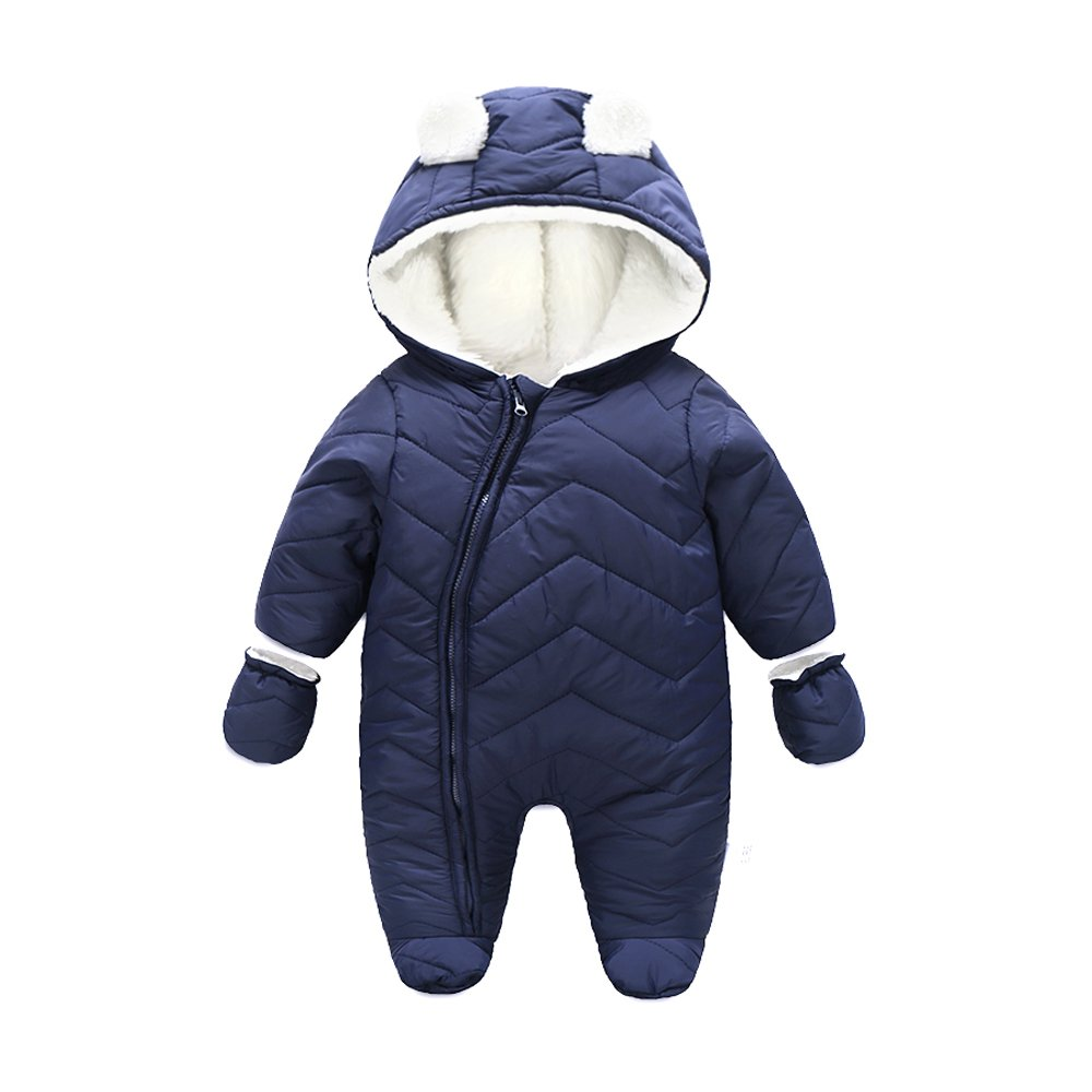 Ding-dong Baby Boy Girl Winter Hooded Puffer Jacket Snowsuit with Gloves(Navy,6-9M) by Ding-dong