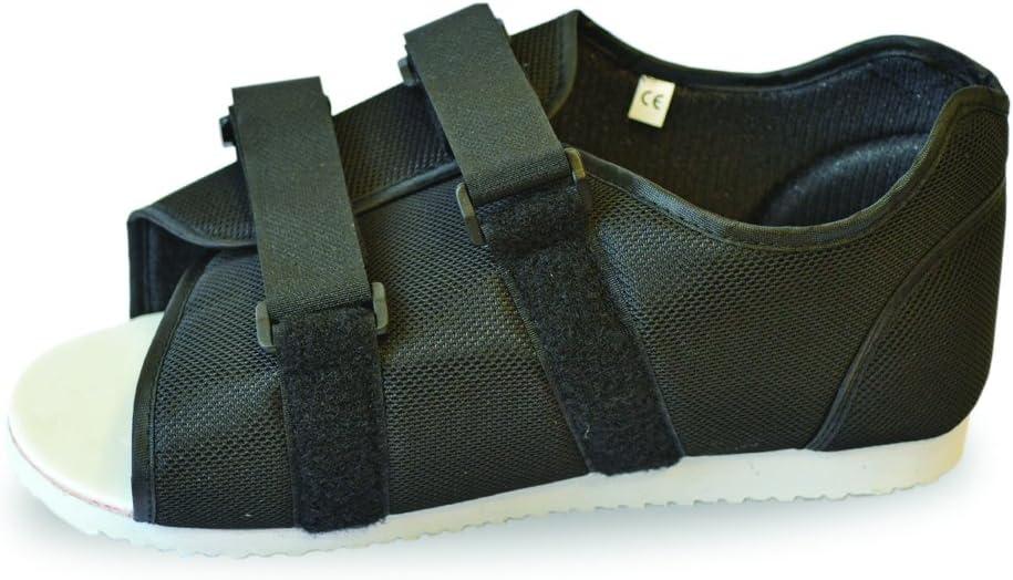 Zapatos médicos posoperatorios – negro adecuado tanto para hombres como para mujeres, se adapta a pie izquierdo o derecho.