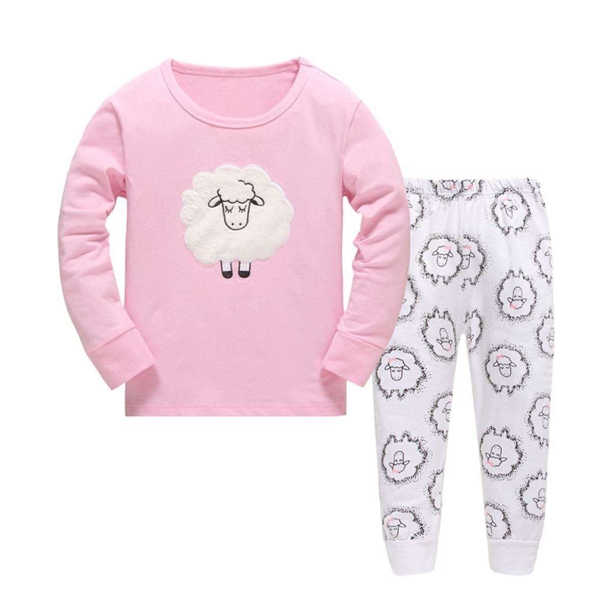 Girls Pajamas Cartoon Sheep Children Pjs Kids Rib Long Sleeves Cotton Clothes Set Czofnjesi