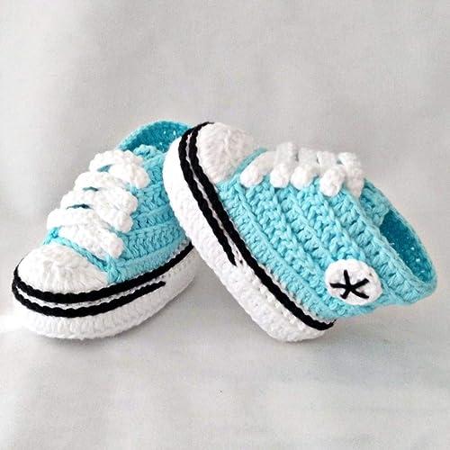 Patucos para Bebé Recién Nacido tipo Converse, 0-3 meses Agua Azul. Handmade. Crochet. España: Amazon.es: Handmade