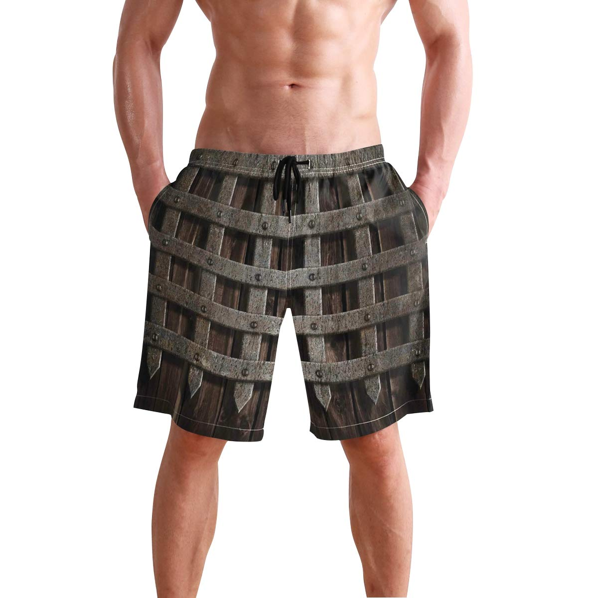 COVASA Mens Summer ShortsMedieval Wooden Castle Wall and Gate Greek Style Mid