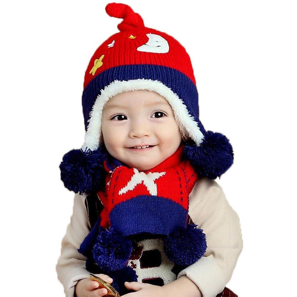 Cosanter cappello sciarpa set Winter Baby Beanie rosso di lana berretto di maglia sciarpa per bambini, 6–24mesi 6-24mesi