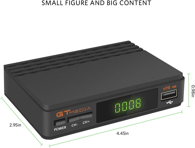 GTMEDIA V7S HD DVB-S2 Digital Receptor de TV por satélite Decodificador Freesat V7 HD Mejora con USB WiFi Antena FTA 1080P Full HD Soporte PVR, CC ...