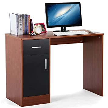 Popamazing Home Office Wood Computer Desk Filing Storage Cabinet/Cupboard  Drawers Computer Workstation Laptop Desktop