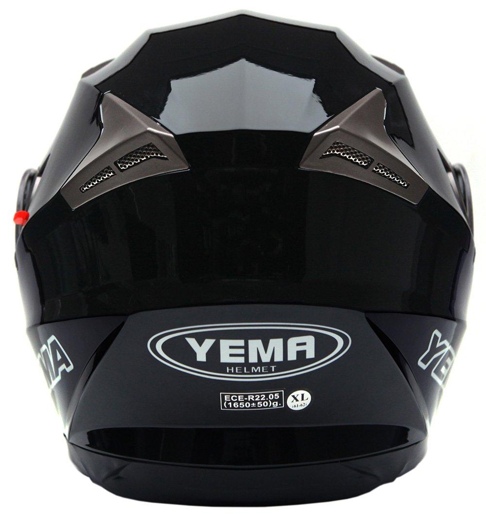Amazon.es: Casco Moto Modular ECE Homologado - YEMA YM-925 Casco de Moto Integral Scooter para Mujer Hombre Adultos con Doble Visera-Negro-M