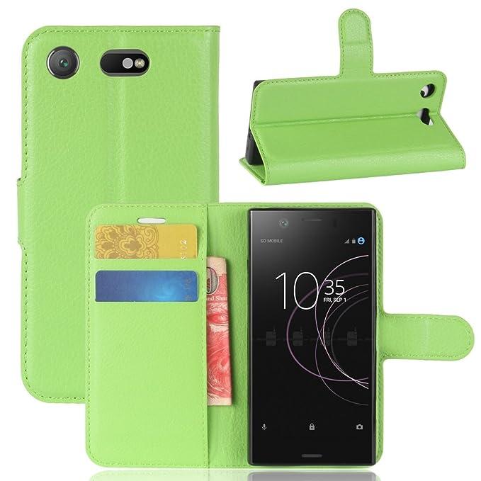 Guran® Funda de Cuero PU Para Sony Xperia XZ1 Compact Smartphone Función de Soporte con Ranura para Tarjetas Flip Case Cover Caso-verde