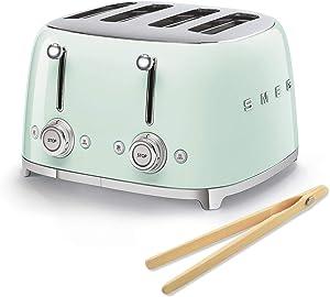 Smeg 50s Retro 4-Slot Toaster TSF03 Bundle with Norpro Bamboo Tongs (Pastel Green)