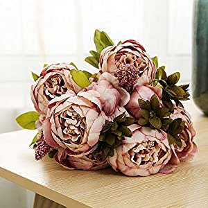 Ogrmar Vintage Artificial Peony Silk Flowers Bouquet for Decoration (Cameo Brown x2) 3