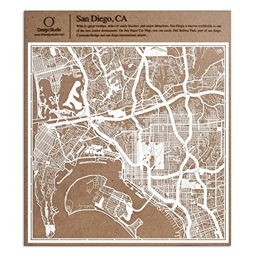 San Diego, CA Paper Cut Map by O3 Design Studio White 12×12 inches Paper Art for $<!--$39.99-->