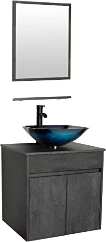 eclife 24 Bathroom Vanity Sink Combo Wall Mounted Concrete Grey Cabinet Vanity Set Ocean Blue Square Tempered Glass Vessel Sink Top