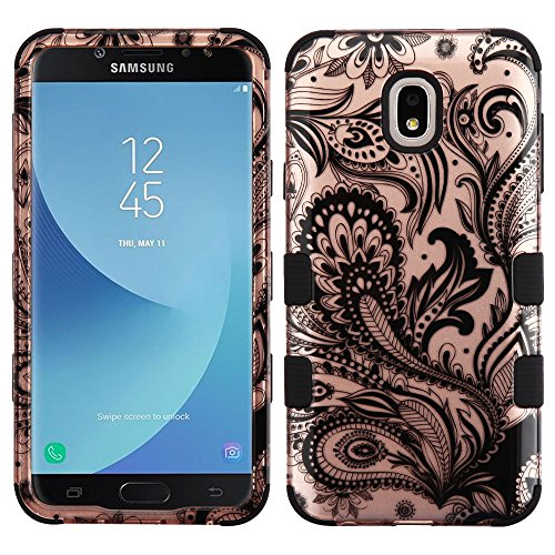 Rubberized Black Shield Protector Case (TUFF Hybrid Series Phone Protector Cover Case and Atom Cloth for Samsung Galaxy J7, J7 V 2nd Gen 2018 (J737V) - 2D Paisley Flowers)