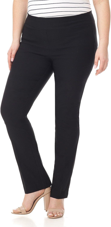 Rekucci Curvy Woman Plus Size Modern Straight Leg Pant w/Tummy Control