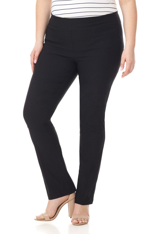 Rekucci Curvy Woman Plus Size Modern Straight Leg Pant w/Tummy Control (16W,Black)