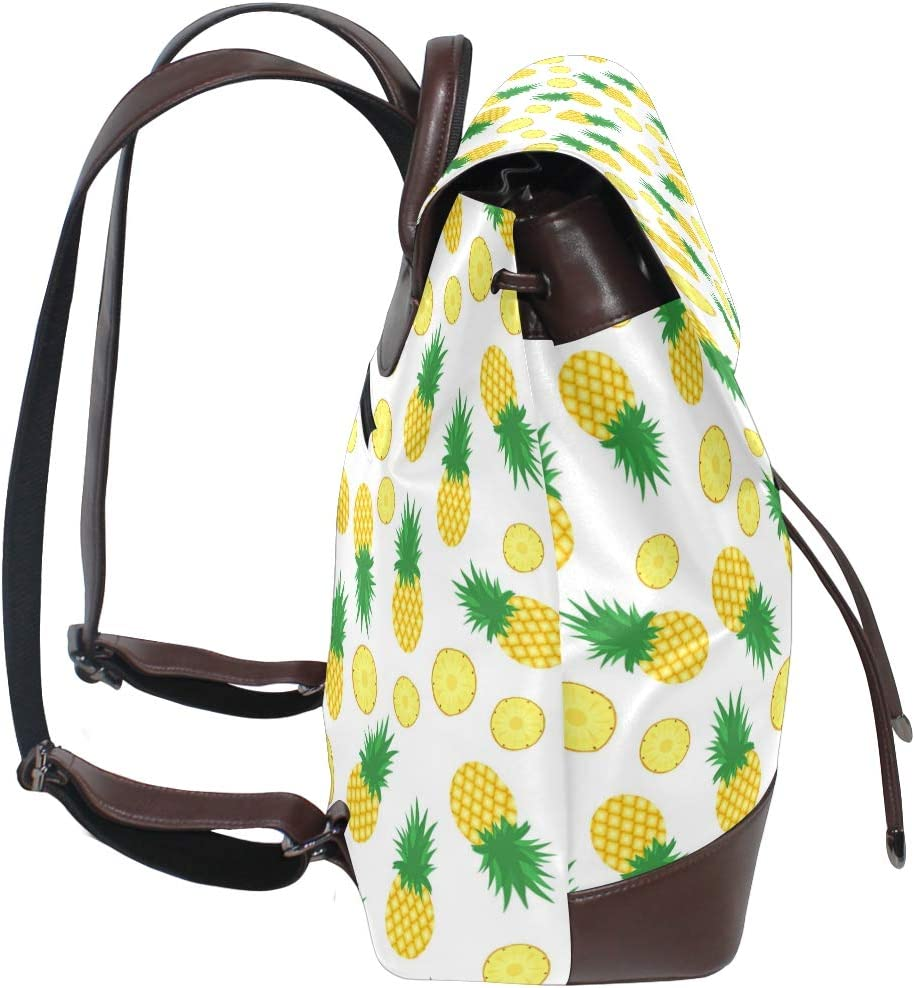Leather Pineapple Background Fresh Pineapples Slices Backpack Daypack Bag Women