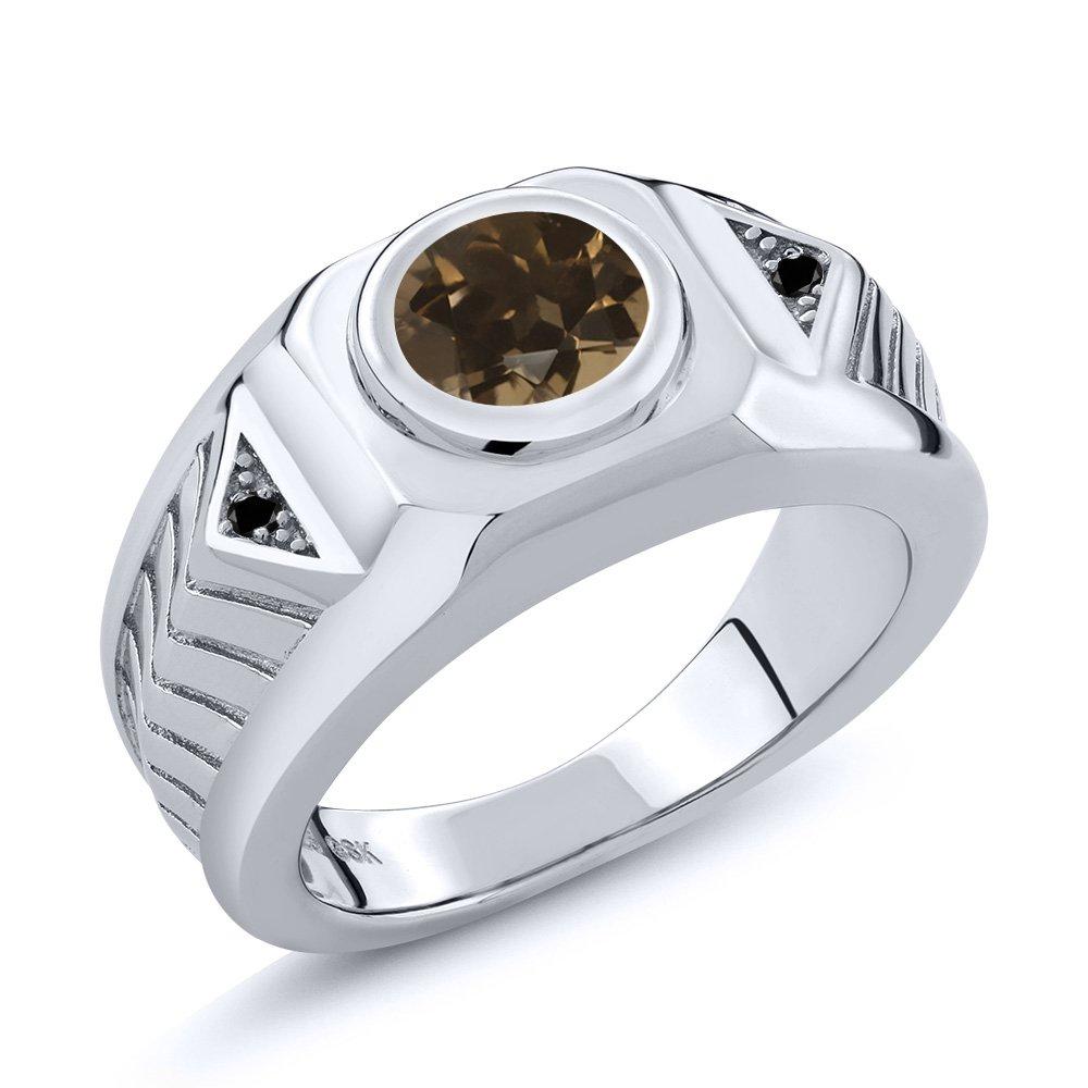 Gem Stone King 1.73 Ct Round Brown Smoky Quartz Black Diamond 925 Sterling Silver Mens Ring
