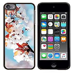 Flores blancas- Metal de aluminio y de plástico duro Caja del teléfono - Negro - iPod Touch 6