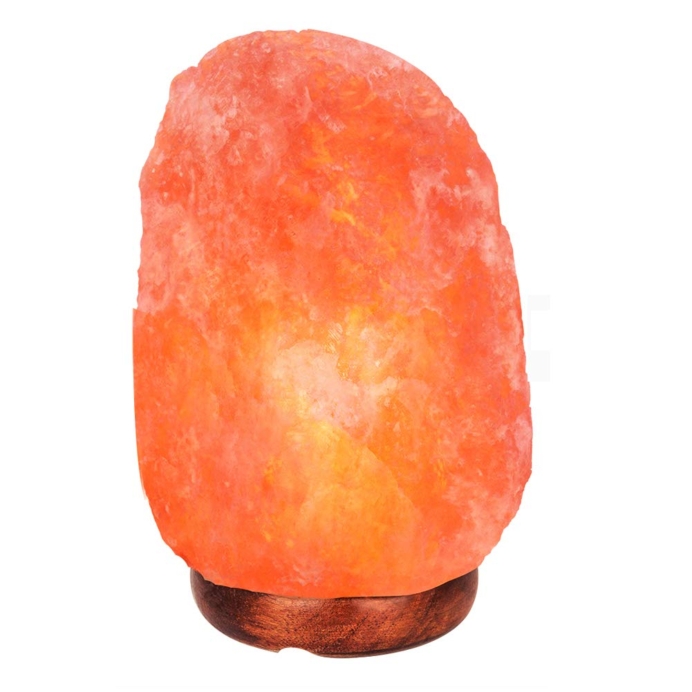 Himalayan Salt Rock Lamp Wooden Base,Hand Carved Crystal Salt lamp with light bulbs UL Approval Listed Plug(with 6 light bulbs)