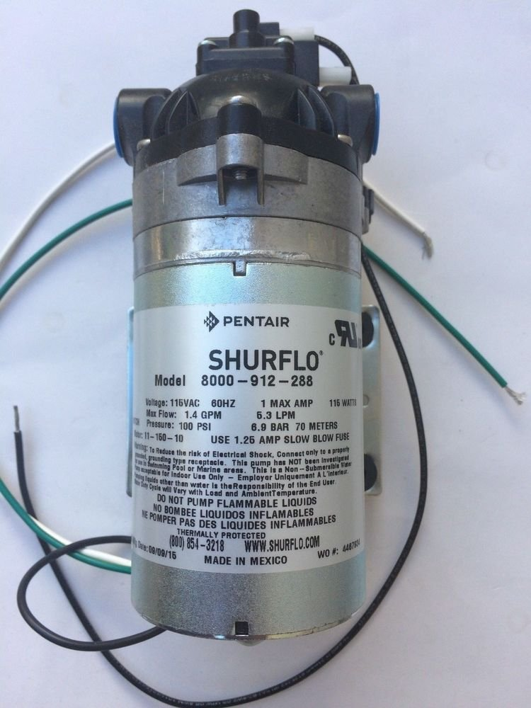 Shurflo 8000-812-288 On Demand Diaphragm Water Pump For Agriculture Spraying and Fluid Transfer, 115VAC, 1.4GPM, 100PSI, Chemical-Resistant Materials, Viton Valve, Self-Priming, Can Run Dry