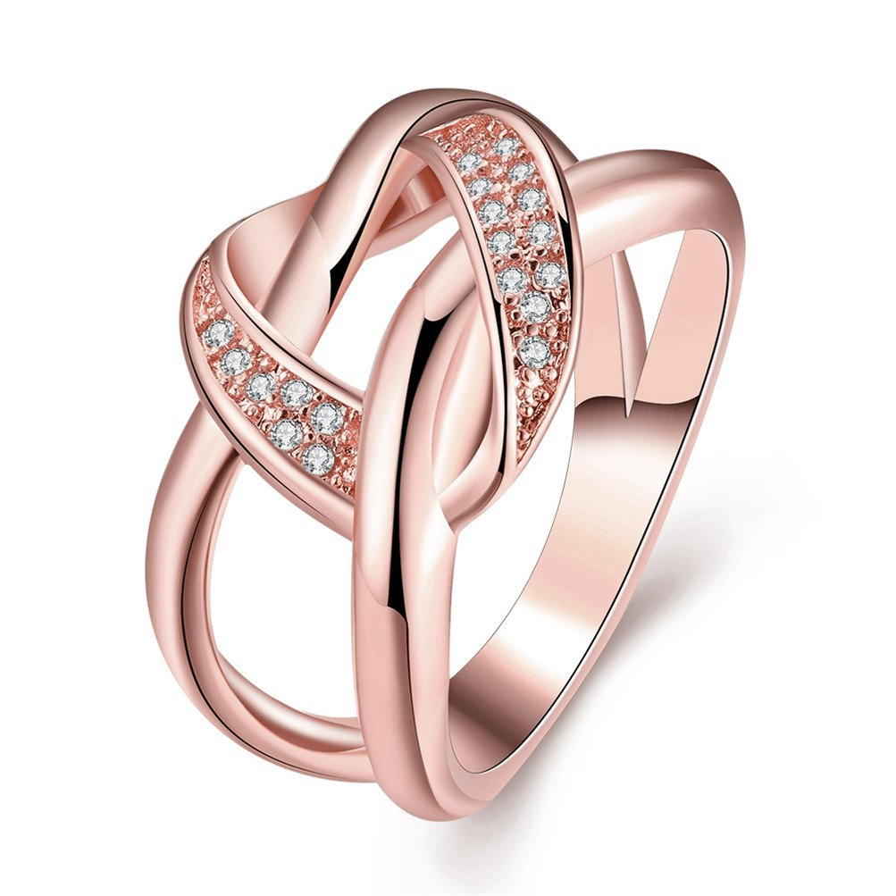 Double Circle Knot Love Eternity Statement Ring Wedding Band 18K ...