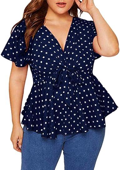 FELZ Elegante Camiseta de Manga Corta para Mujer Mujeres Talla Grande Camisa con Dobladillo de Volantes con Cuello en v Profundo Casual Lunares Impresos Arco Blusa Original Fiesta t-Shirt: Amazon.es: Ropa y